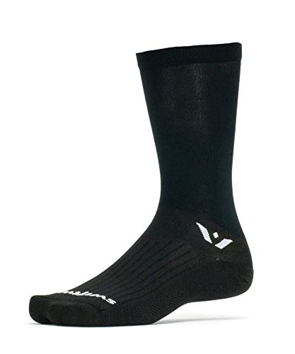 Swiftwick- ASPIRE SEVEN Cycling Socks for Men & Women | Firm Compression Fit, Lightweight, Tall Crew | Black, Large