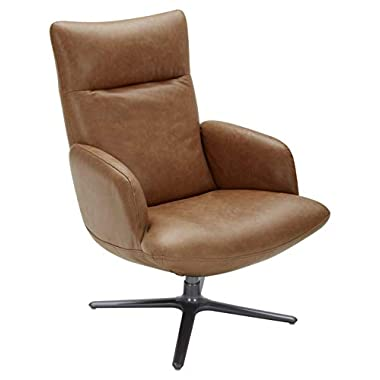 Amazon Brand – Rivet Blanchard Leather Living Room Accent Chair with Swivel Base, 28″W, Cognac Brown