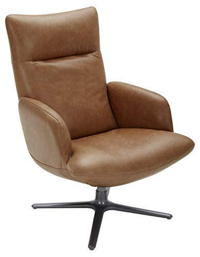 """Amazon Brand – Rivet Blanchard Leather Living Room Accent Chair with Swivel Base, 28""""W, Cognac Brown"""