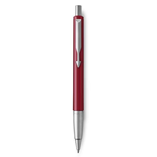 Parker Vector Penna a Sfera con Finiture Cromate, Punta Media, Inchiostro Blu, Confezione Regalo, Rosso