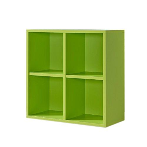 Regal grün, Regalwürfel, 4er Cube grün, Regal, Click System: werkzeuglose Montage