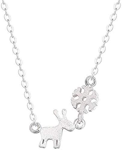 Collar Lindo Animal Salvaje Caliente Color Plata joyería pequeño Claro Cepillado Nieve Ciervo clavícula Collar de Color Plateado
