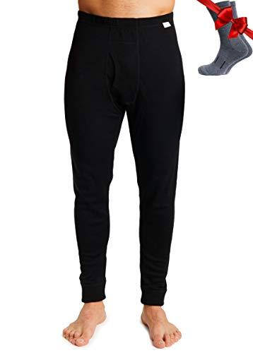 Merino Wool Men's Base Layer Pants — 100% Organic Wool Midweight Thermal Pants + Hiking Wool Socks (Large, Black 250)