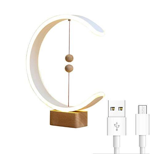 Gpzj Lámpara de Mesa de Personalidad Simple, lámpara de Equilibrio, lámpara de Escritorio, luz de Noche LED Creativa de Equilibrio de levitación magnética Inteligente, Puerto de Carga USB