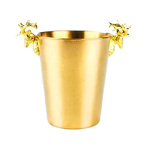 DUTUI Cubo de hielo de vino de champán de acero inoxidable, enfriador de banquetes de restaurante casero, con clip de hielo, práctico y hermoso, dorado, L