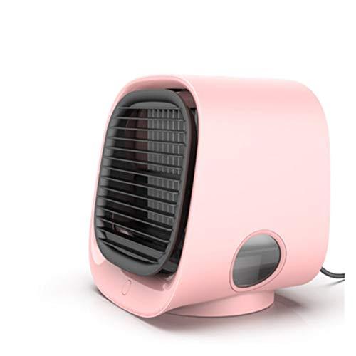 LXF JIAJU USB Mini Fans Aire Acondicionado Portátil Aire Cooler Fan Avena Escritorio Espacio Enfriador Espacio Personal Ventilador De Enfriamiento De Aire Humidify 7 Light Room (Color : Pink)