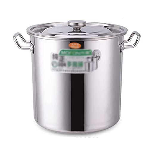 YLKCU Olla para cocinar al Vapor, Olla de Sopa Profunda de Acero Inoxidable 304 Espesado para el hogar, para hostelería y el hogar, con Tapa para Estufa de Gas/Cocina de inducción (20-90L)