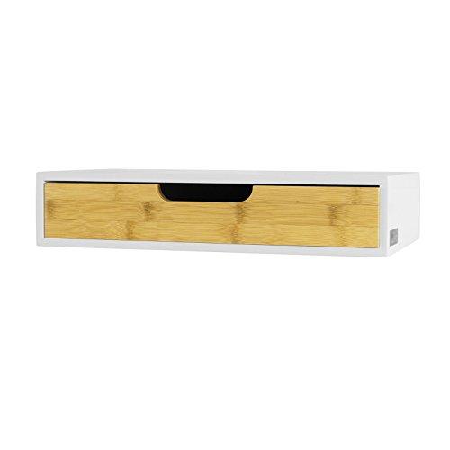 SoBuy® Mensola con cassetto, Libreria, Porta Gioielli a Chiavi, FRG92-WN,IT