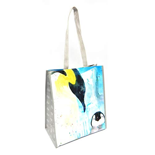 Wildlife Tree Einkaufstasche, wiederverwendbar, Tierdruck, Wasserfarbe, groß, strapazierfähig, mit verstärkten Griffen 15.5IN x 13.5IN x 7IN pinguin
