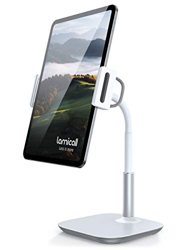 Lamicall Tablet Stand, Adjustable Tablet Holder - Desktop Stand Mount Dock for New 2020 iPad Pro 9.7, 10.5, 12.9, iPad Air mini 2 3 4, Switch, Samsung Tab, iPhone, other Tablets - White