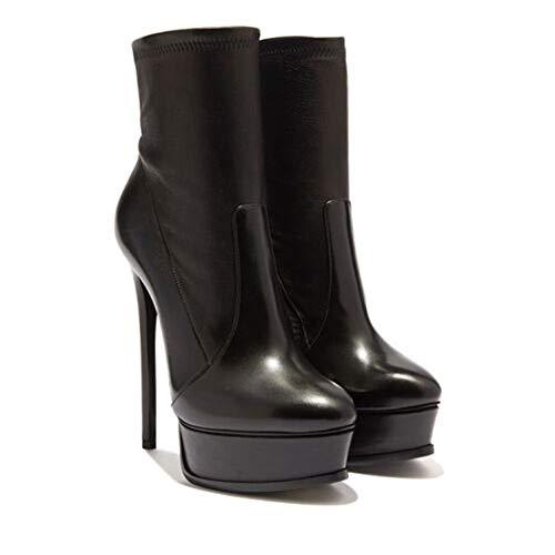 WMZQW Botines de Plataforma Botas Cortas de Mujer Zapatos de Cuero de Tacón Alto Sexy Zapatos de Vestir Primavera Otoño,Negro,35