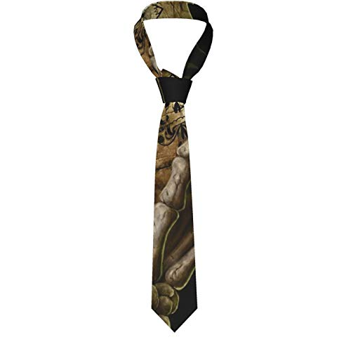 Orange Kürbisse und Heustacks Herren Klassische formelle Slim Krawatte Casual Gentleman Anzug Krawatten für Hochzeit, Party, Büro, Business Gr. Einheitsgröße, Horror Totenkopf Skelett