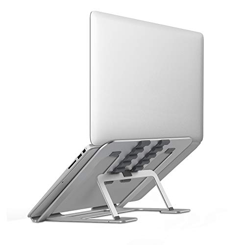 Laptop Stand Portable Adjustable Vertical, Ergonomic Foldable Laptop Riser Stand Holder, Laptop Desk Stand Mount for 13.3 -17inch Notebook Computer Cooling Holder Support Bracket, Aluminium Silver