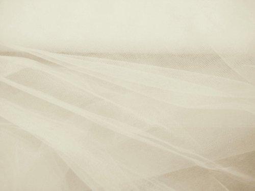 1 m Ivoire (Crème, Blanc cassé) Poids léger rigide robe net Tissu Veil net Tissu Matériau Ultra Fish Net en tissu maille filet tutu voile de mariage robe de mariée en tulle rigide clair net net