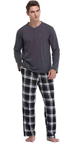 Vlazom Conjunto de Pijamas para Hombre, Pijama Hombre Invierno Parte Superior de Manga Larga, Pijama Suave y Parte Superior a Cuadros,S,A-Negro y Gris Oscuro