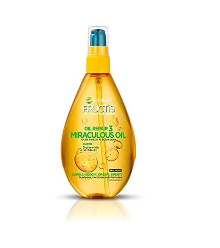 Garnier Fructis Oil Repair 3 Miraculous Oil- Olio senza Risciacquo per capelli secchi, 150...