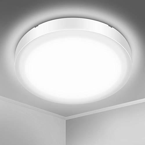 Plafonnier LED, SOLMORE Lampe Plafond 18W 1700LM Imperméable IP54 Lampe de Plafond LED Moderne Mince Rond Blanc Froid 5000K Applicable à Salle de Bain, Chambre, Cuisine, Salon, Balcon, Couloir