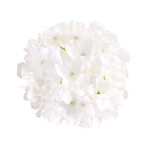 CAN_Deal 50 PCS 6 inch Silk Hydrangea Heads Artificial Decoration Flowers Garden Floral Décor, White