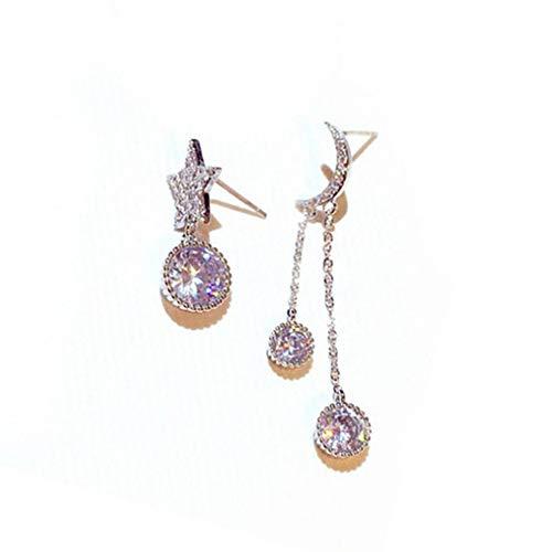 #N/V Pendientes asimétricos de estrellas y luna de moda elegantes adornos femeninos