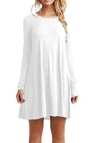 OMZIN Damenoberteile Solid Basic Knielang Swing Baumwollkleid Plus Weiß XS