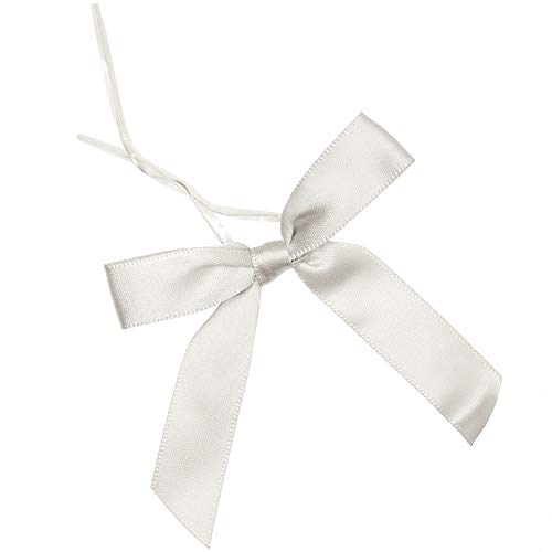 Satin Twist Tie Bows (Silver, 3 in, 100-Pack)