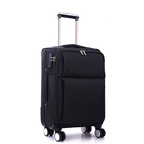 Travel Suitcase Oxford Brass Bag Student Trolley Case Boarding 20-28 Inch Suitcase Business Boarding Chassis Waterproof Wearable Fashion Safety Suitcase Luggage case ( Color : Black , Size : 24Inch )