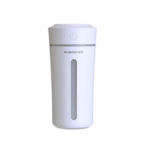 Upgraded Small Humidifiers for Small Space Like Car Office Bedroom, Super Quiet 9 Fl oz Portable Mini humidifier with 7 Colors Night Light, BPA Free for Baby, USB, Auto Shut-Off, 2 Mist Modes(White)