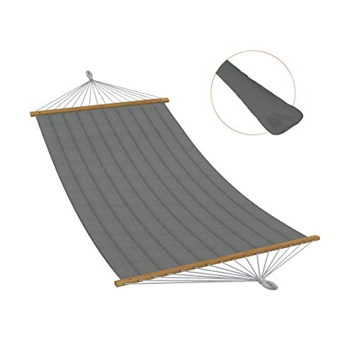Ampel 24 XL Outdoor Hängematte Aruba mit extra Kissen, gepolsterte Stabhängematte grau, Einzelhängematte mit Querholz, Belastbarkeit 120 kg