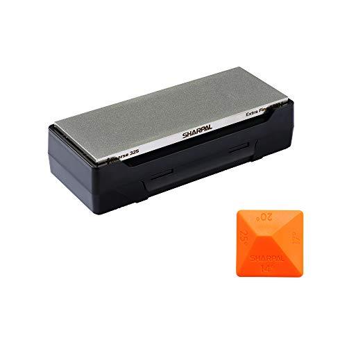 SHARPAL 162N Afilador con piedra de diamante para cuchillos con base de almacenamiento, y guía de ángulo, congrano 325, grano 1200 (203 mm x 76 mm)