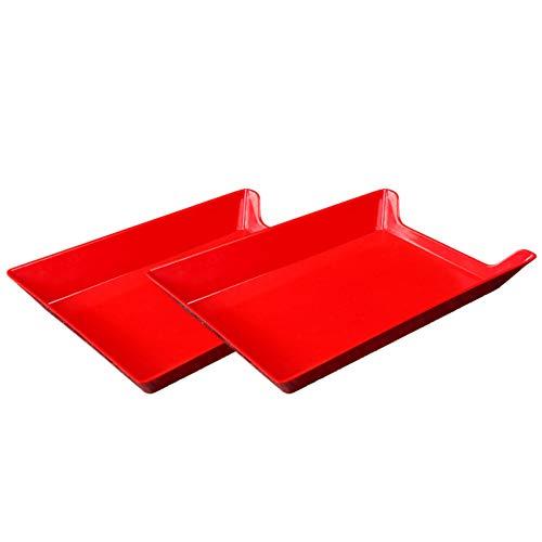 Demarkt - Platos de Porcelana para Servir (2 Unidades), melamina, Rojo, 34.6 * 24.1 * 4.6cm