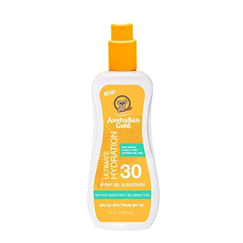 Australian Gold Spray Gel Sunscreen Moisturize Hydrate Skin, Broad Spectrum, Water Resistant, NonGreasyc, Oxybenzone Free, Cruelty Free, SPF 30, Coconut, 8 Ounce