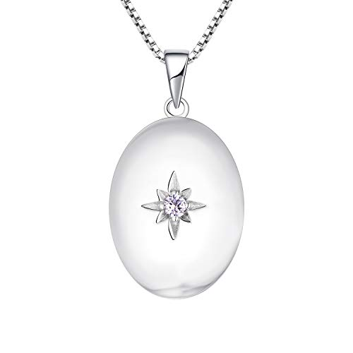 JO WISDOM Oval Photo Locket Necklace,925 Sterling Silver Polar Star Charm 3A Cubic Zirconia June Birthstone Alexandrite Color Pendant Necklace Jewelry for Women