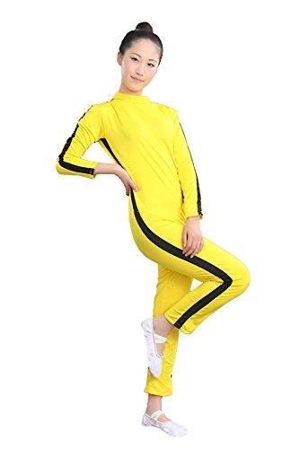 ZooBoo Adults & Kids One Piece Jumpsuit Costume Yellow Kungfu Uniforms (Yellow, Height 130cm)