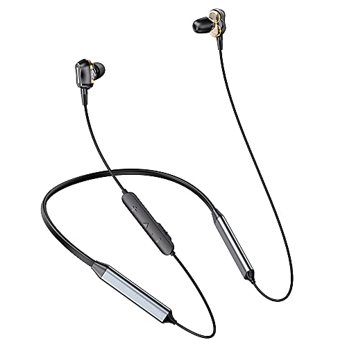 Dual Dynamic Drivers Bluetooth Headphones, Neckband Wireless Earbuds with Crossover, HiFi Sound Wireless Earbuds, 25 Hours Playtime, Bluetooth Headset Sports Earphones (Black Silver)