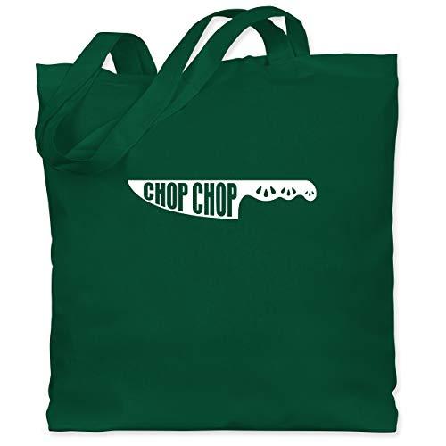 Shirtracer Küche - Chop Chop - Messer mit Muster - Unisize - Dunkelgrün - Spruch - WM101 - Stoffbeutel aus Baumwolle Jutebeutel lange Henkel
