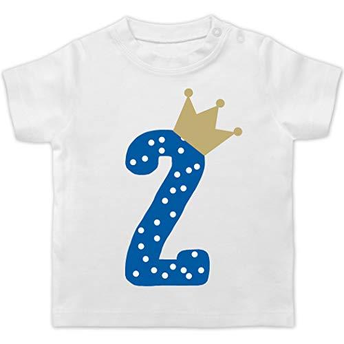Geburtstag Baby - 2. Geburtstag Krone Junge - 18/24 Monate - Weiß - t-Shirt Jungen 6. Geburtstag - BZ02 - Baby T-Shirt Kurzarm
