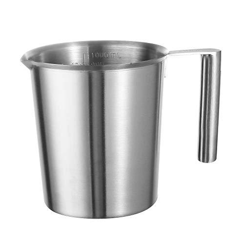 Measuring Jug 1000ml Stainless Steel Measuring Cup Milk Froth Jug Metal Melting Pot Wax Cup Unbreakable Dishwasher Safe