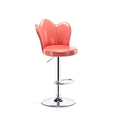 Swivel Lifting Bar Chair, Simple Chair with Backrest, Pu Leather, Non-slip Base, for Home Kitchen Office Chair (Color : A)