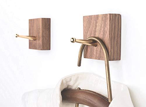 anaan Square Design Wandhaken Holz Garderobenhaken Handtuchhaken Schlüsselhaken mit Messing Haken Selbstklebend oder zur Wandmontage (Walnuss 2er Set)