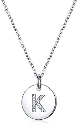 Dainty Disc Initial Necklace S925 Sterling Silver Letters K Alphabet Pendant Necklace Birthday product image