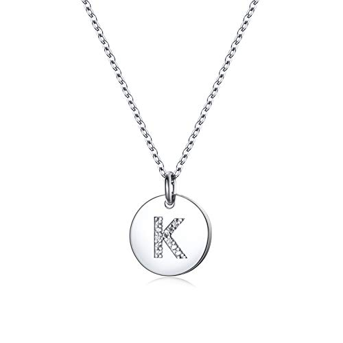 Dainty Disc Initial Necklace S925 Sterling Silver Letters K Alphabet Pendant Necklace Birthday Gift for Girl