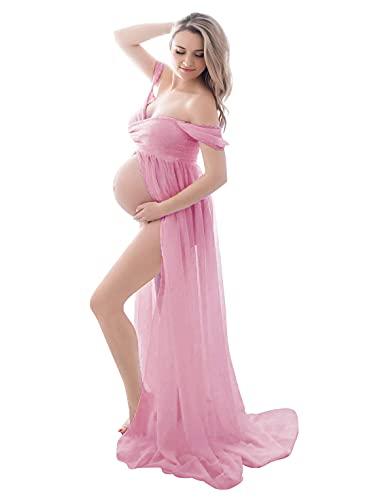 FEOYA Vestido para embarazadas de maternidad fotográfica, vestido sexy largo, falda de muselina de seda, abertura frontal para recuerdos fotográficos
