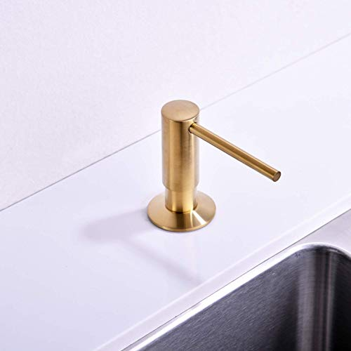 Avola Soap Dispenser,Soap Dispenser for Kitchen Sink,Commercial Liquid Dish Dispensers,Built in Kitchen Sink Soap Dispenser,Brushed Gold Lotion Dispenser