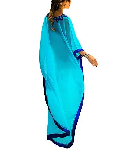 Bsubseach Women Blue Embroidery Chiffon Swimwear Turkish Kaftans Swimsuit Cover up Caftan Beach Long Dress