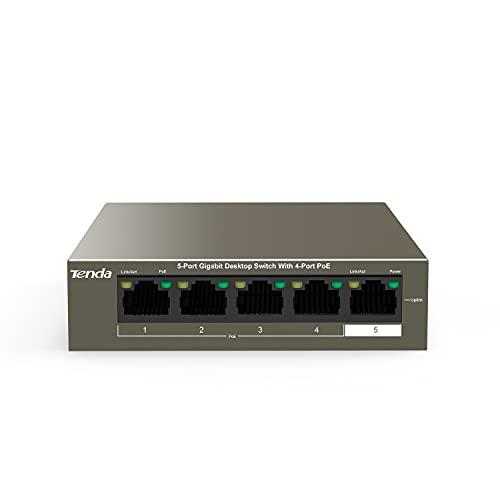 Tenda TEG1105P-4-63W Gigabit Desktop PoE Switch de 5 Puertos (4 Puertos PoE,Puertos 802.3af / at Obedient), Protección 6KV,...
