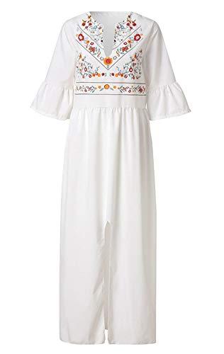 Frauen-ethnischer Art Lose Trompete Hülse V-Ansatz Druck Stitching A-line Split Maxi-Kleid