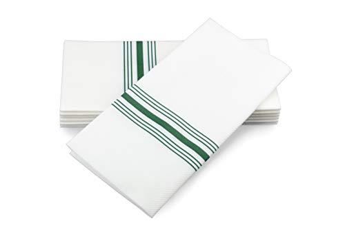 Simulinen Dinner Napkins - Decorative Napkins - Cloth Like & Disposable Green Bistro with Pocket - Elegant & Durable - Soft & Absorbent - Large 17