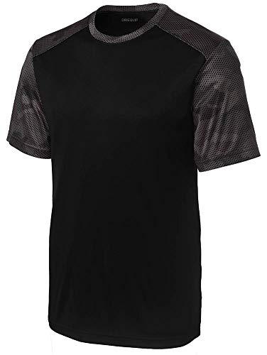 DRIEQUIP Mens CamoHex Athletic Shirt-4XL-Black/IronGrey