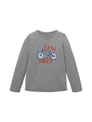 TOM TAILOR Baby-Jungen Langarmshirt T-Shirt, Drizzle Melange|Gray, 116/122