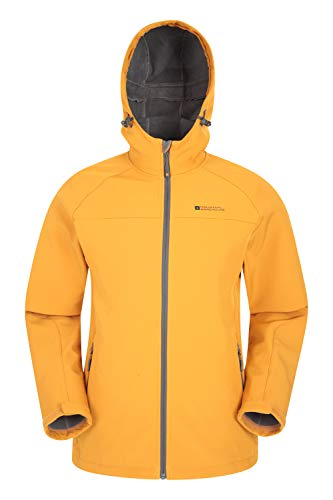 Mountain Warehouse Exodus - Giacca a Vento Uomo in Tessuto Softshell - Traspirante, Resistente alla Pioggia, Rivestimento in Pile Mustarda 3XL